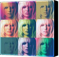 Britney Spears Canvas Prints - Britney Spears Pastel Warhol by GBS Canvas Print by Anibal Diaz