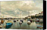Yachts Digital Art Canvas Prints - Brixham harbor Canvas Print by Sharon Lisa Clarke