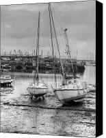 Black And White Yacht Canvas Prints - Brixham Harbour  Canvas Print by Mike Lester