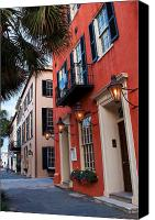 Lowcountry Canvas Prints - Broad St. Lanterns Canvas Print by Drew Castelhano