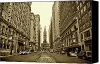 White Canvas Prints - Broad Street Facing Philadelphia City Hall in Sepia Canvas Print by Bill Cannon