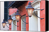 Textured Canvas Prints - Broad Street Lantern - Charleston SC  Canvas Print by Drew Castelhano