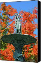 Indiana Autumn Canvas Prints - Broadway Fountain I Canvas Print by Steven Ainsworth