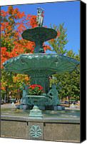 Indiana Autumn Canvas Prints - Broadway Fountain II Canvas Print by Steven Ainsworth