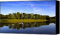 Setting Canvas Prints - Broemmelsiek Park - Spring Reflections Canvas Print by Bill Tiepelman