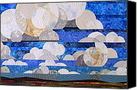 Clouds Tapestries - Textiles Canvas Prints - Broken Cumulous Canvas Print by Linda Beach