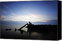 Marquette Digital Art Canvas Prints - Broken Dock Long Exposure Canvas Print by Joe Gee