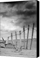 Sand Fences Canvas Prints - Broken Fence In Dune, South Shields Canvas Print by John Short