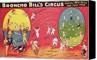 Acrobats Canvas Prints - Bronco Bills Circus Canvas Print by English School