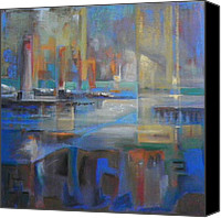 Harbor Art Painting Canvas Prints - Bronte Harbour Canvas Print by Frances Obie