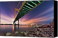 Queens Canvas Prints - Bronx Whitestone Bridge At Dusk Canvas Print by Mihai Andritoiu, 2010