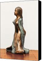 Copper Sculpture Canvas Prints - Bronze Hollow Lady in Gown Left View 3 sculpture in bronze and copper green long hair Canvas Print by Rachel Hershkovitz