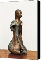 Copper Sculpture Canvas Prints - Bronze Hollow Lady in Gown Right View 2 sculpture in bronze and copper green long hair  Canvas Print by Rachel Hershkovitz