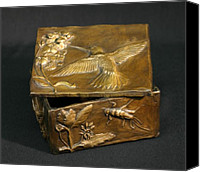 Bronze Reliefs Canvas Prints - Bronze Hummingbird Box Canvas Print by Dawn Senior-Trask
