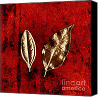 Scanner Canvas Prints - Bronze Leaves on Red Canvas Print by Dolly Mohr