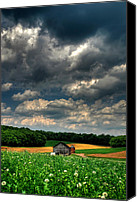 Pennsylvania Barns Canvas Prints - Brooding Sky Canvas Print by Lois Bryan