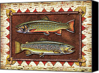 Flyfishing Canvas Prints - Brook and Brown Trout Lodge Canvas Print by JQ Licensing