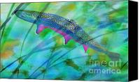 Trout Digital Art Canvas Prints - Brook Trout In The Stream Canvas Print by Terril Heilman