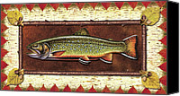 Flyfishing Canvas Prints - Brook Trout Lodge Canvas Print by JQ Licensing