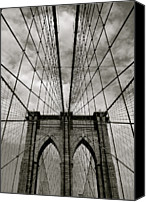 White Canvas Prints - Brooklyn Bridge Canvas Print by Adrian Hopkins