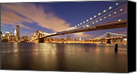 Brooklyn Bridge Canvas Prints - Brooklyn Bridge And Manhattan At Night Canvas Print by J. Andruckow