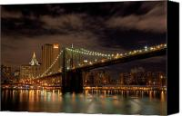 New York Mets Canvas Prints - Brooklyn Bridge at Dusk Canvas Print by Shawn Everhart
