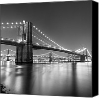 Brooklyn Bridge Canvas Prints - Brooklyn Bridge At Night Canvas Print by Adam Garelick