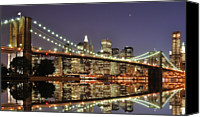 Waterfront Canvas Prints - Brooklyn Bridge At Night Canvas Print by Sean Pavone