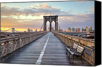 Bench Canvas Prints - Brooklyn Bridge At Sunrise Canvas Print by Anne Strickland Fine Art Photography