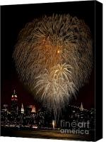 4th July Canvas Prints - Brooklyn Bridge Celebrates Canvas Print by Susan Candelario