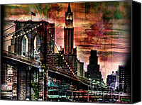 Famous Mixed Media Canvas Prints - Brooklyn Bridge Canvas Print by Christine Mayfield