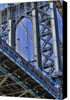 Nyc Photo Canvas Prints - Brooklyn Bridge close-up Canvas Print by David Smith