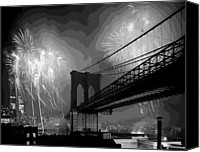 The City That Never Sleeps Canvas Prints - Brooklyn Bridge Fireworks BW16 Canvas Print by Scott Kelley