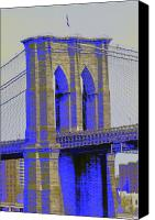 Psychedelic Canvas Prints - Brooklyn Bridge in Blue Canvas Print by Christopher Kirby