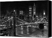 Landscapes Drawings Canvas Prints - Brooklyn Bridge New York Canvas Print by David Rives