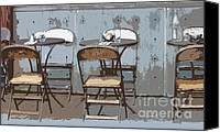 Tables Canvas Prints - Brooklyn Outdoor Cafe Canvas Print by AdSpice Studios