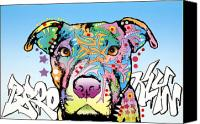 Dog Art Canvas Prints - Brooklyn Pit Bull 2 Canvas Print by Dean Russo