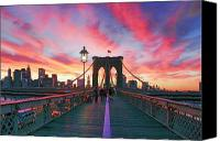 Nyc Photo Canvas Prints - Brooklyn Sunset Canvas Print by Rick Berk