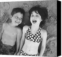 8 To 9 Year Old Canvas Prints - Brother And Sister On Beach Canvas Print by Michelle Quance