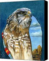 Hawk Spirit Art Canvas Prints - Brother Hawk Canvas Print by J W Baker