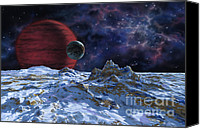 Lynette Cook Canvas Prints - Brown Dwarf with Planet and Moon Canvas Print by Lynette Cook