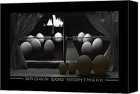 Eggs Digital Art Canvas Prints - Brown Egg Nightmare Canvas Print by Mike McGlothlen