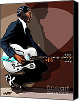 Epiphone Canvas Prints - Brown Eyed Handsome Man-Chuck Berry Canvas Print by David Fossaceca