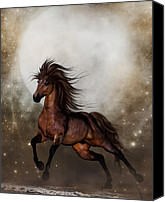 Wildhorses Canvas Prints - Brown Horse Canvas Print by Simone Gatterwe