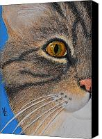 Cats Reliefs Canvas Prints - Brown Tabby Cat Sculpture Canvas Print by Valerie  Evanson