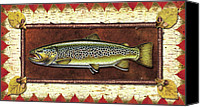 Flyfishing Canvas Prints - Brown Trout Lodge Canvas Print by JQ Licensing