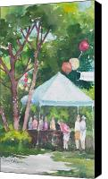 Vendor Painting Canvas Prints - Browsing the Sale Table Canvas Print by Tina Bohlman