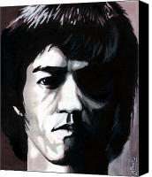 Martial Arts Canvas Prints - Bruce Lee Portrait Canvas Print by Alban Dizdari
