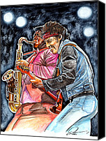 E Street Band Canvas Prints - Bruce Springsteen and Clarence Clemons Canvas Print by Dave Olsen