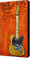 Guitar Hero Canvas Prints - Bruce Springsteens Fender Esquire Canvas Print by Karl Haglund